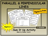 Parallel & Perpendicular Lines Sum It Up Activity