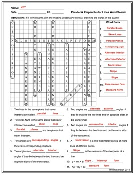 Parallel & Perpendicular Lines Word Search Activity