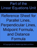 Parallel, Perpendicular, Midpoint, and Distance Reference Sheet