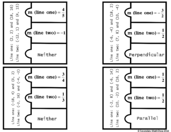 Parallel, Perpendicular, Neither (Points) Cut, Paste, Solve, Match Puzzle Act.