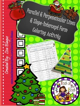 Christmas Parallel & Perpendicular, Slope-Intercept, and Point-Slope Coloring