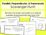 Parallel, Perpendicular, and Transversals Review Scavenger Hunt