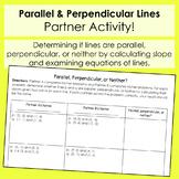 Parallel, Perpendicular, or Neither - Partner Worksheet
