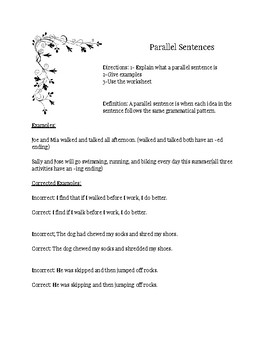 Parallel Sentence Introduction and 2 Handouts