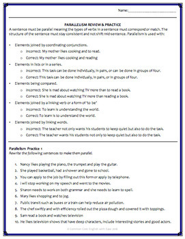 Parallel Sentence Structure Grammar Worksheets Powerpoint
