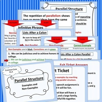 Parallel Structure: Parallelism Grammar Mini-Lesson Packet Middle & High School