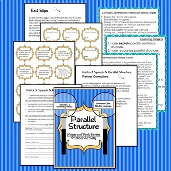 Parallel Structure Parallelism Grammar Mini Lesson Packet Middle