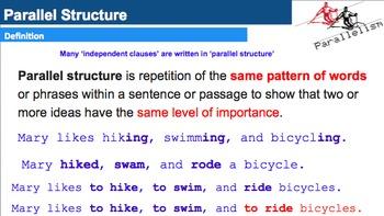 Parallel Structure Unit:  -Videos -Songs - Scripts