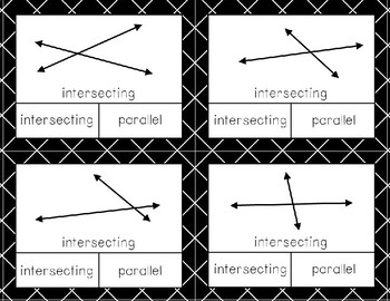 Parallel and Intersecting Line and Line Segment ID Clip Cards Freebie