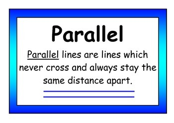 Parallel and Perpendicular Definition Display Posters