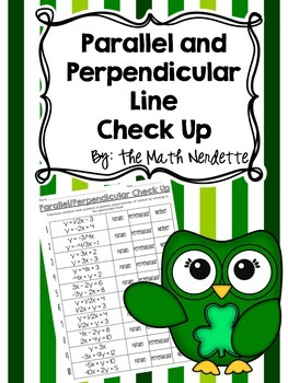 Parallel and Perpendicular Equation Check Up Freebie
