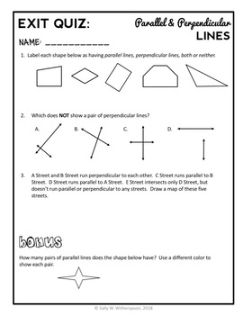 Parallel and Perpendicular Lines, 4th Grade Geometry Lesson Packet & Quiz, 4.G.1
