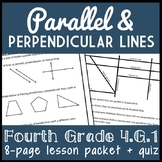 Parallel & Perpendicular Lines, 4th Grade Geometry Lesson Packet & Quiz, 4.G.1