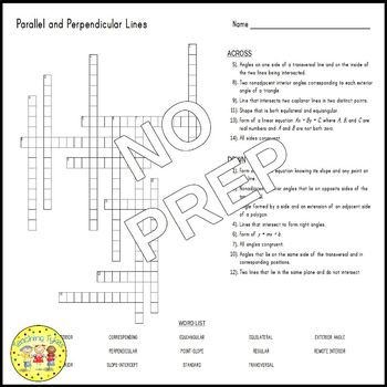 Parallel and Perpendicular Lines Crossword Puzzle