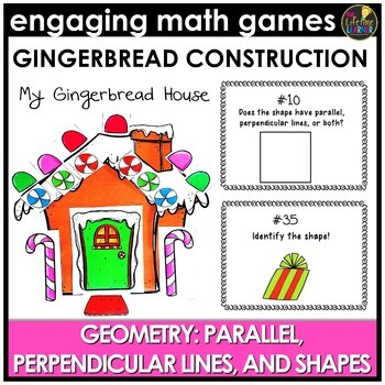 Parallel and Perpendicular Lines Geometry Christmas Fourth Grade Math Center