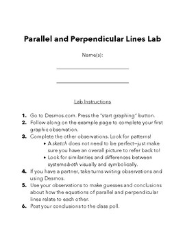 Parallel and Perpendicular Lines Lab