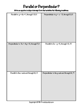 Parallel and Perpendicular Lines: Linear Practice on Paper or an iPad!