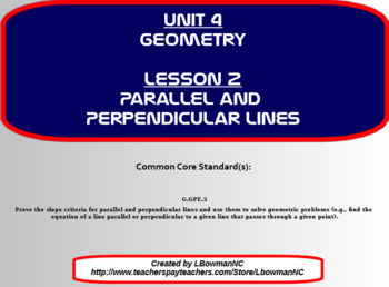 Parallel and Perpendicular Lines (Math 1)