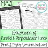 Writing Equations of Parallel and Perpendicular Lines Worksheet - Maze Activity