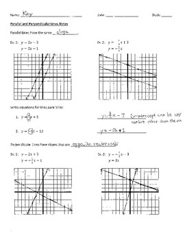 Parallel and Perpendicular Lines Notes Key