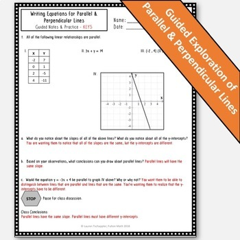 Parallel and Perpendicular Lines Notes & Practice! TEKS A.2E, A.2F, HSG-GPE.B