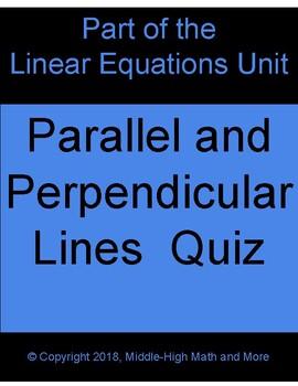 Parallel and Perpendicular Lines Quiz
