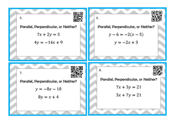 Parallel and Perpendicular Lines Task Cards *QR CODES*
