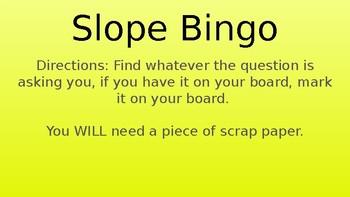 Parallel and Perpendicular Slope Bingo