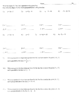 Parallel and Perpendicular lines quiz practice homework test
