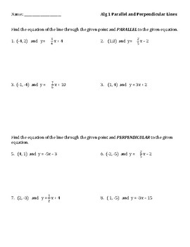 Parallel and perpendicular lines from Equations