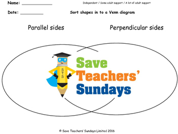 Parallel and perpendicular lines worksheets  (2 levels of