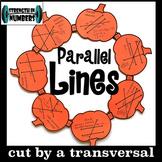 Parallel lines Transversal Angles Activity Fall Pumpkin Wreath (Halloween)