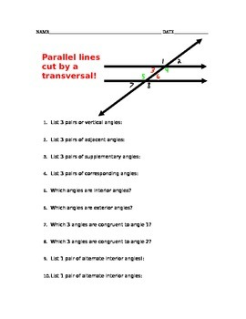 Parallel lines cut by a transversal vocabulary worksheet