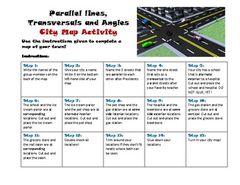 Parallel lines, transversals and angles city map activity