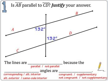 Parallel or Not Lesson (ActivInspire flipchart, practice,and exit ticket)