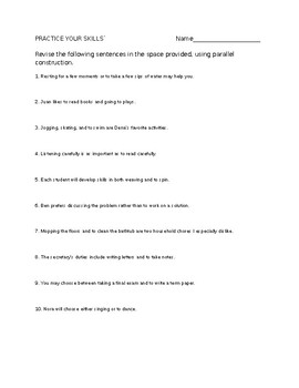 Parallelism or Parallel Structure Worksheet by Amanda Pidgeon | TpT