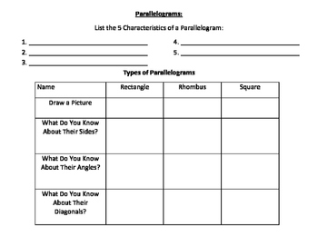 Parallelogram Graphic Organizer/Guided Notes