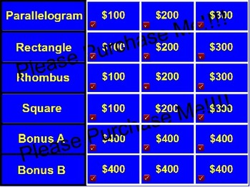 Parallelogram Jeopardy