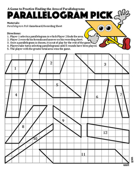 Parallelogram Pick - A Game to Practice Finding the Area of Parallelograms