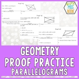 Geometry Proof Practice Cards:  Parallelograms