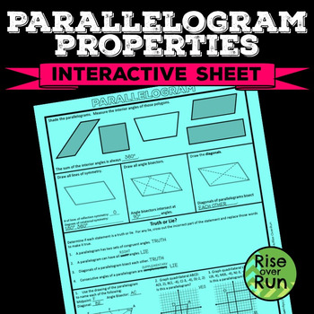 Properties of Parallelograms Activity Worksheet, Free