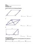 Parallelogram Quiz for Geometry - high school