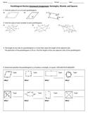 Parallelogram Review Worksheet