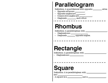 Parallelogram, Rhombus, Rectangle and Square Foldable