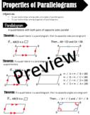 Parallelogram Theorem Notes - Properties of Parallelogram