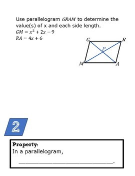 Parallelograms: Definition & Properties with Quadratics
