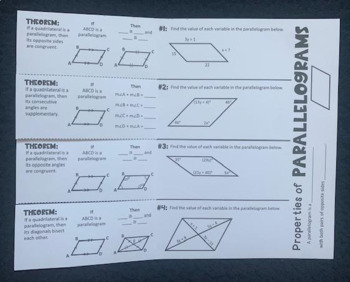 Parallelograms (Geometry Foldable)