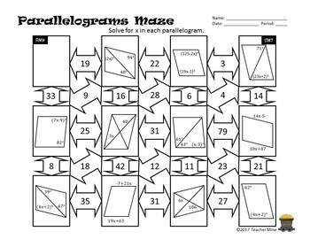 parallelograms maze activity answer key g-k
