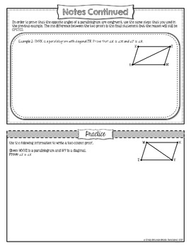 Parallelograms Proofs Part 1 Lesson Materials (Guided Notes, Classwork, HW)