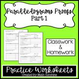Parallelograms Proofs Part 1 Practice Worksheets (Classwor